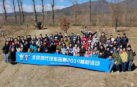 Workers at Beijing Hyundai Auto Finance celebrate planting trees, meant for environmental protection.