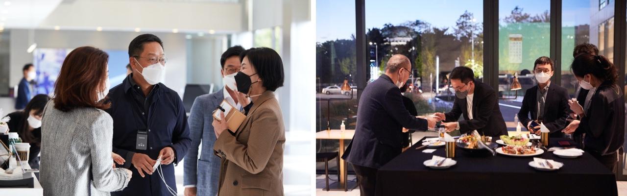 (왼쪽) 본 행사에 앞서 진행된 리셉션에서 정태영 현대카드 부회장(왼쪽에서 두번째)을 중심으로 제네시스, 대한항공 등 우리나라 대표 기업 관계자들이 인사를 나누고 있다. (오른쪽) 행사 후 이어진 저녁 식사 자리에서는 무신사, 쏘카 등 젊은 기업을 상징하는 파트너사들이 한 데 모여 젊은 고객층을 대상으로 하는 협업을 기대케 했다.