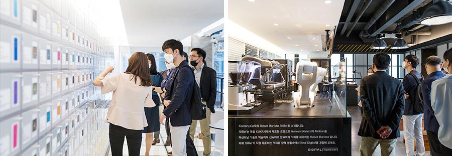 조인식에 앞서 박재욱 대표를 비롯한 쏘카 관계자들이 현대카드 사옥 투어를 했다. 현대카드 팩토리의 카드 스토리월(왼쪽)과 팩토리 카페에 최근 새로 설치된 로봇 바리스타 등을 둘러보는 모습