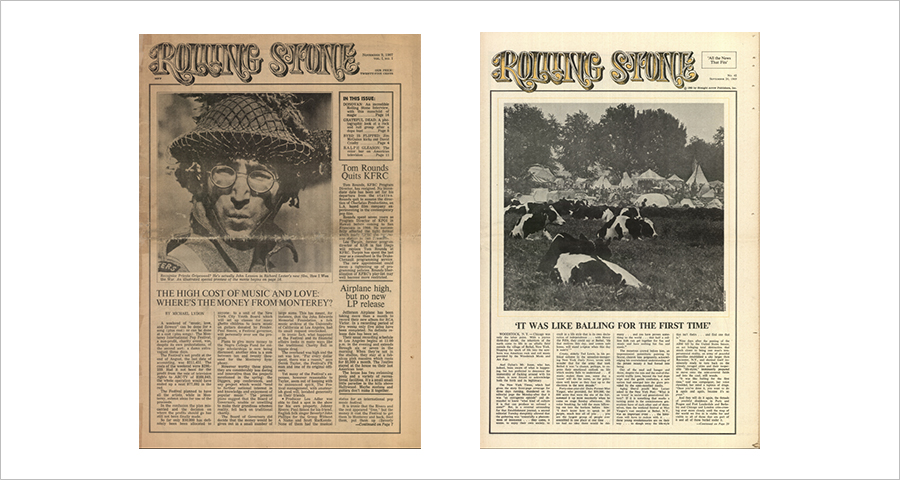 (Left) The first issue of Rolling Stone featured the Beatles' John Lennon for its cover. The famous anti-war activist was at the time shooting a black comedy film on the Ward War II, showing that the magazine was meant to deal with not only pop music but also the society, culture and politics. (Right) Rolling Stone's Issue No. 42, published in September 1969, dealt with the Woodstock Music and Art Fair 1969, which ran August 15-18, 1969. It shows the hippie counterculture at its peak.