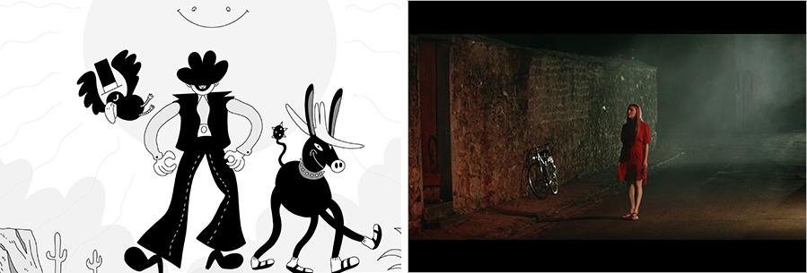 (왼쪽부터) 현대카드가 선보인 단편영화 '내 꿈은 컬러꿈' 중 'the Black Jean'과 'the Red Door'의 한 장면