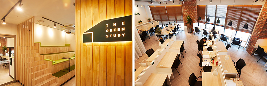 (from left) Relax zone at THE GREEN STUDY Sangam branch located in Mapo-gu, Seoul. Building overview of THE GREEN STUDY