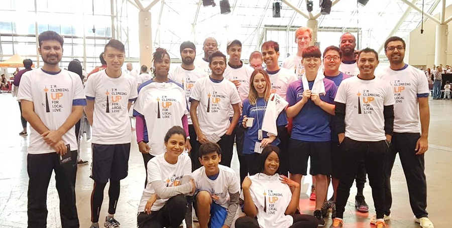"Hyundai Capital Canada employees pose for a photo after joining ""CN Tower Climb"" event."