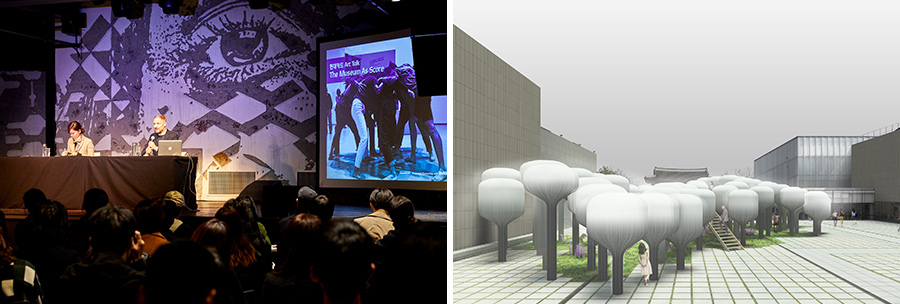 "(Left) Stuart Comer, MoMA's senior curator, gives a lecture at ""Hyundai Card Art Talk: The Museum As Score"" at Hyundai Card Understage in November 2018. (Right) ""Shinseon Play"" by Moon Ji Bang, winner of 2014 Young Architects Program"