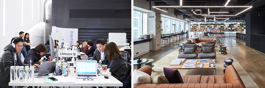 "(From left) Hyundai Card employees participate in ""Hyundai Card Hackathon"" to raise awareness of digital transformation. Hyundai Card's co-working space, ""Studio Black."""