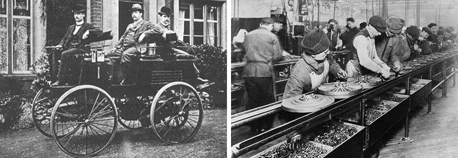 (왼쪽)토마스 파커의 전기차(오른쪽)포드사의 컨베이어 벨트를 이용한 조립 공정(출처=Wikipedia.org)