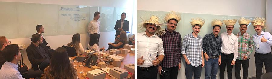 (왼쪽부터) BHCB에 신규 입사한 브라질 직원들의 오리엔테이션 세션, 김정상 부장(오른쪽에서 두 번째)이 브라질 축제인 페스타 주니나(Festa Junina)때 쓰는 전통 모자를 쓰고 동료들과 함께 포즈를 취하고 있다.