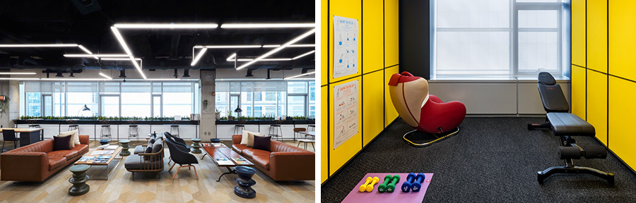 Studio Black has a variety of spaces to work and rest at.Left is Lounge, where tenants may work and mingle and right is Blank Room, a resting space.