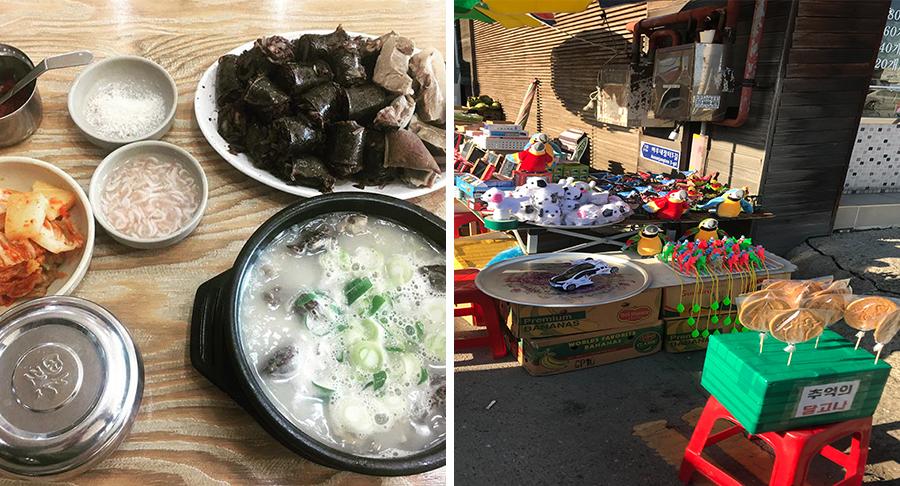 (왼쪽) 병천 순대 거리에 있는 청화집의 순대국밥,  (오른쪽) 아우내 장터의 어린이 장난감 가게