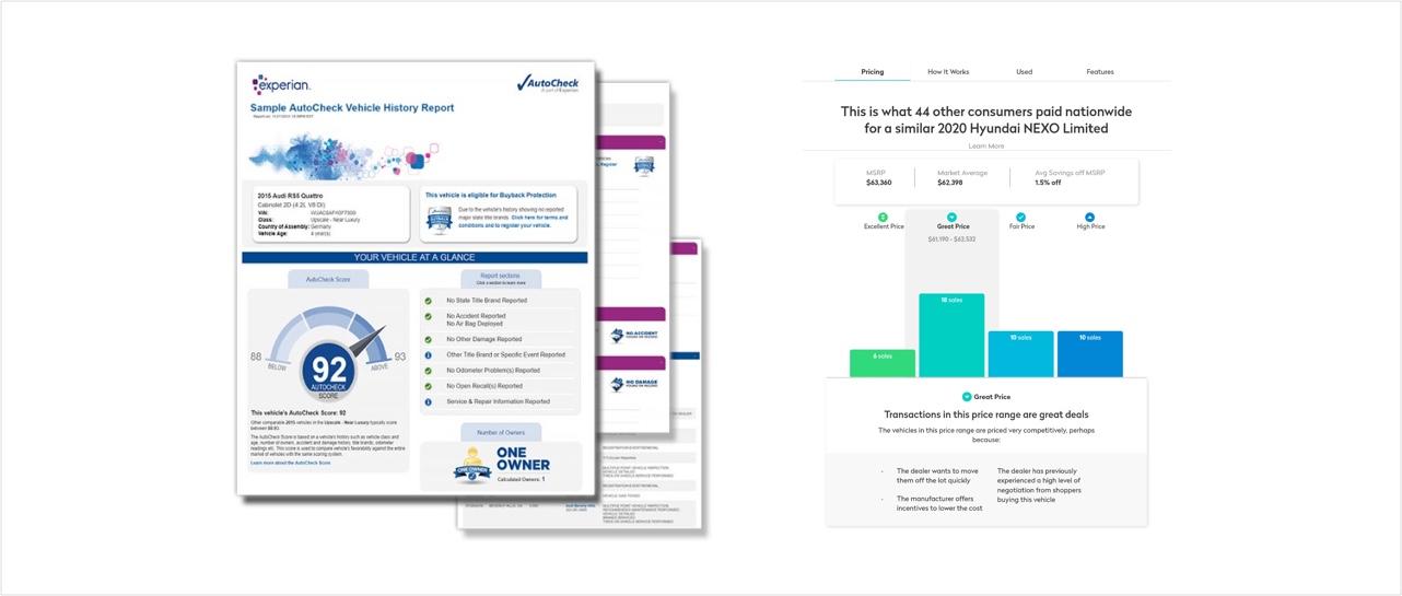 (왼쪽) 오토체크(AutoCheck)의 차량 이력 리포트 서비스 (출처=autocheck.com 캡처) (오른쪽) 트루카의 차량 가격 정보 서비스 (출처=truecar.com 캡처)