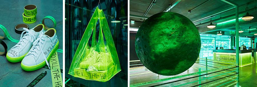 지난5일부터 현대카드 바이닐앤플라스틱에서는 'the Green Moon' 속 주인공이 신고 등장한 스니커즈를 실제 제작해 전시 중이다.오는11일부터13일까지3일 동안 'the Green' 회원만을 대상으로 선착순 한정 판매도 진행할 예정이다.