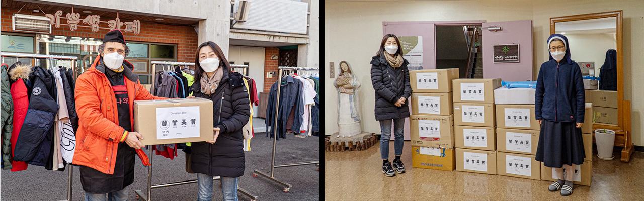 수집된 기부물품들이 전달된 안나의 집의 대표 김하종 신부(좌)와 자오나학교 교장 정수경 수녀(우)