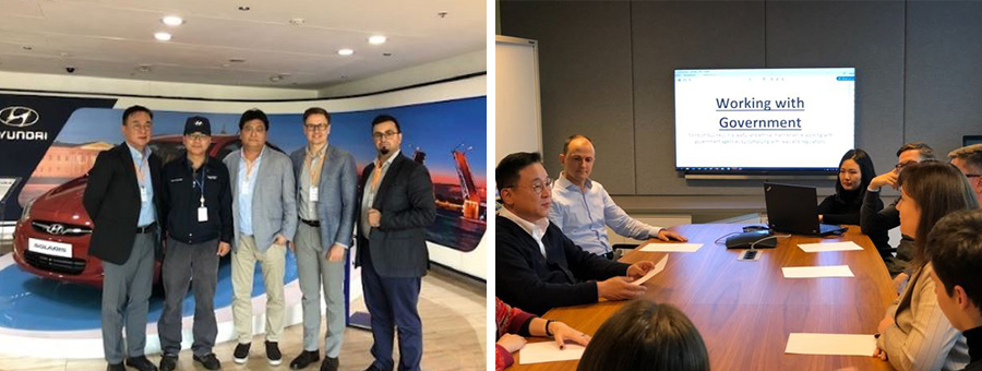 (From the left side) Jaewon Lee and HCR employees visiting a Hyundai Motor factory in Russia, HCR holding compliance meetings on a regular basis for government relations