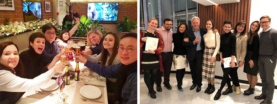 (From the left side) HCR employees having a great time at Happy Hour designed to getting them closer, HCR officially sponsoring the Seoul Philharmonic Orchestra's performance in Moscow in October 2019 HCR employees taking a photo with the conductor Markus Stenz after the performance