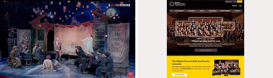 (왼쪽)'예술의 전당'이 지난달부터 유튜브로 중계하고 있는 공연 실황 영상은 지난2013년부터 시작된 공연 영상화 사업을 통해 만든 콘텐츠다. (출처=예술의 전당 유튜브 채널 캡처)  (오른쪽)'베를린 필하모닉'은 지난2008년 세계 최초로 선보인 오케스트라 공연 실황 온라인 중계 서비스 '디지털 콘서트 홀'을 현재 한 달간 무료로 제공하고 있다. (출처=디지털 콘서트 홀 웹사이트www.digitalconcerthall.com)