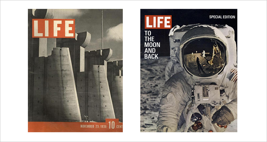 (Left) The first issue of Life, which picked the photo of Fort Peck Dam, the symbol of the controversial New Deal. (Right) Special edition of Life featuring the first human landing on the Moon, issued in August 1969.