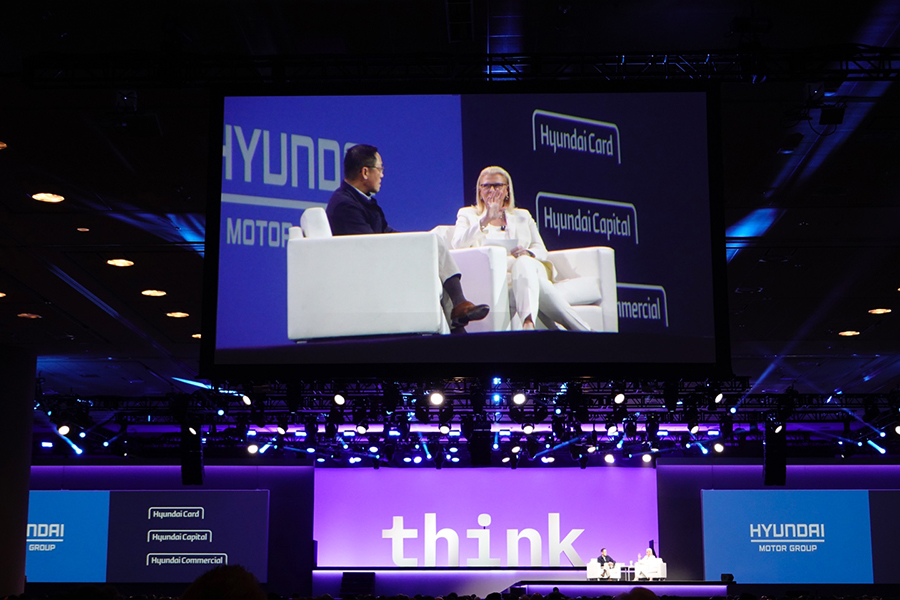"Hyundai Card Vice Chairman Ted Chung talks with IBM Chairman Ginni during ""Chairman's Address"" at IBM THINK 2019 in San Francisco. Photo=Hyundai Card•Hyundai Capital Newsroom"