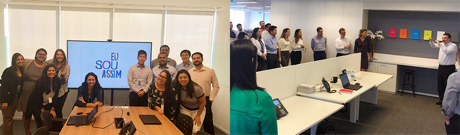 (from left) BHCB corporate culture workshop, Employees participate in a CEO Townhall Meeting.