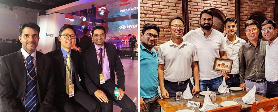 (왼쪽)오토엑스포에 참석한 남궁우진 법인장(가운데), (오른쪽)남궁우진 법인장(왼쪽에서 두번째)과 현대캐피탈 인도(HCIN) 직원들