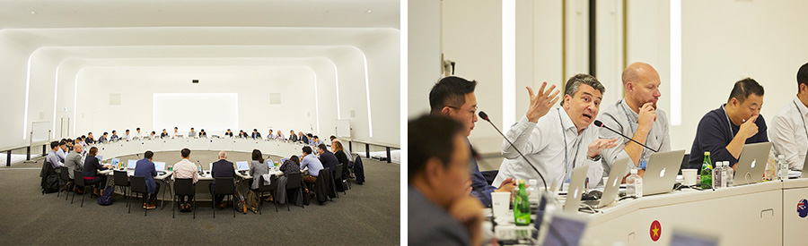 Executives from 11 global operations of Hyundai Capital Services discuss global business strategies at a forum at the Korean headquarters in Yeouido, western Seoul in 2019.