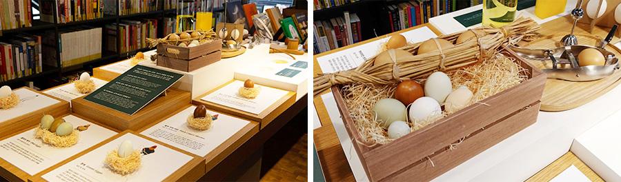 현대카드 쿠킹 라이브러리 2층 전시 테이블에서는 닭의 품종에 따라 서로 다른 7가지 색의 달걀을 만날 수 있다.