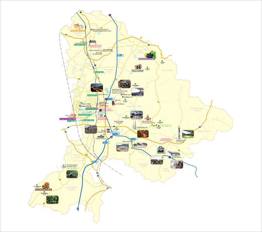 Cheonan tourist map. Cheonan City Office of Tourism