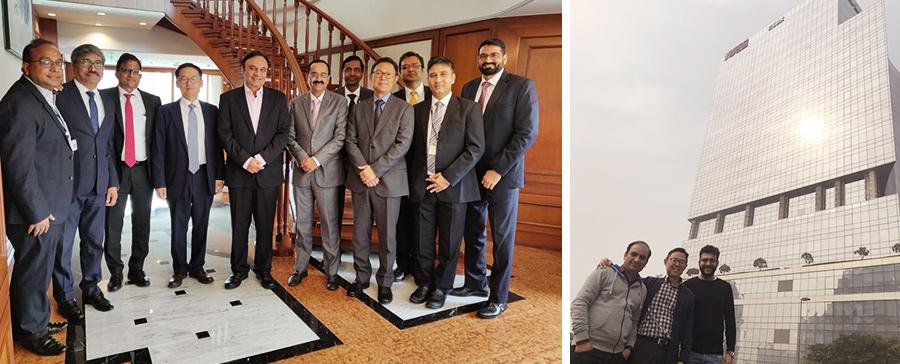 (왼쪽) 현대자동차 인도법인과 인도 ICICI 은행의 주요 임원진들과의 미팅을 마친 후, (오른쪽) 기아자동차 담당직원들과 함께