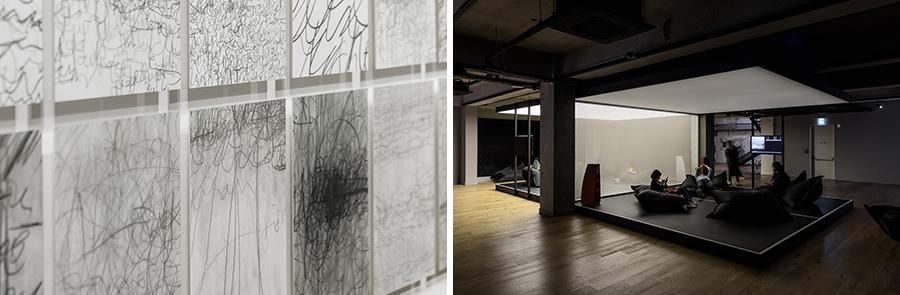 (왼쪽) 영국의 예술가 샘 윈스턴이 존 케이지의 'As it is'를 들으며 그 감상을 표현한 드로잉. (오른쪽) 마티스 니치케의 'Small Places'.거대한 탁구대 위에 소파를 놓아 음악을 감상할 수 있게 했다.