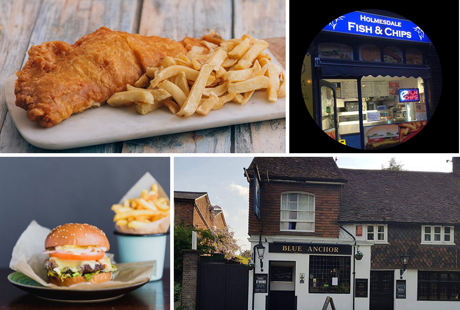 [Top]Holmesdale Fish & Chips Twitter(Source=twitter.com/holmesdalefish), [Bottom]The Blue Anchor Reigate Facebook(Source=facebook.com/TheBlueAnchorReigate)