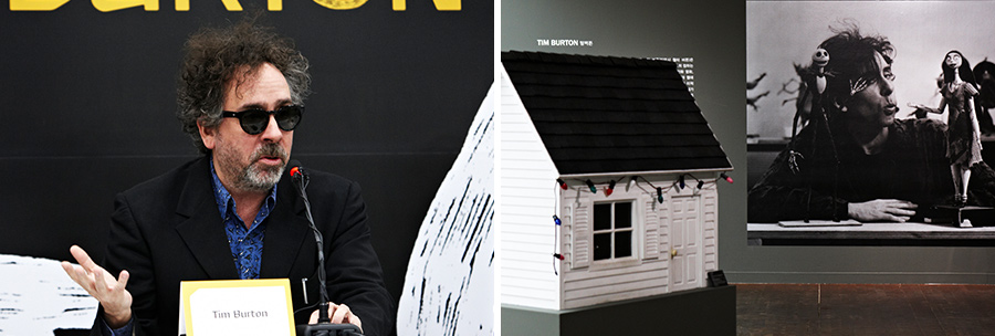 "(Left) Tim Burton speaks at the press conference for"" Hyundai Card Culture Project 09 Tim Burton."" (Right) Installations at the Tim Burton exhibition"