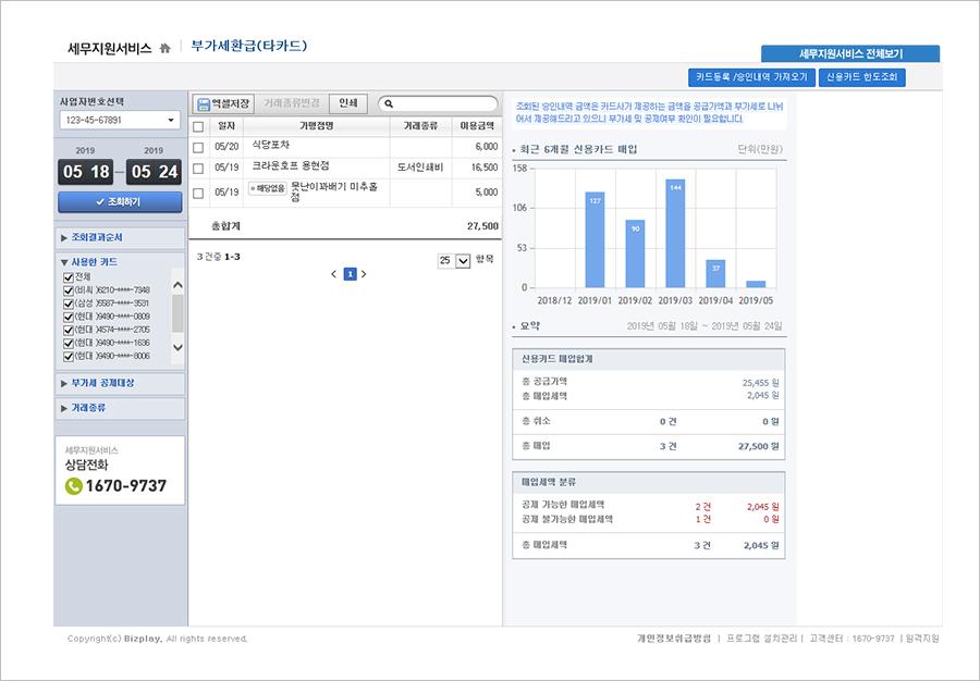 왼쪽 '사용한 카드' 메뉴에서 타 카드사 카드의 사용 내역에 따른 부가세 환급 여부도 함께 확인할 수 있다. (출처=현대카드 MY BUSINESS 홈페이지 내 샘플 화면 캡처)