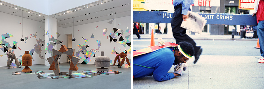 "(Left) Installations at ""Handles"" exhibition by Haegue Yang, commissioned for MoMA's Marron Atrium (Right) Pope. L works on his project ""The Great White Way,"" which ran 2000-2009. (Source = MoMA)"
