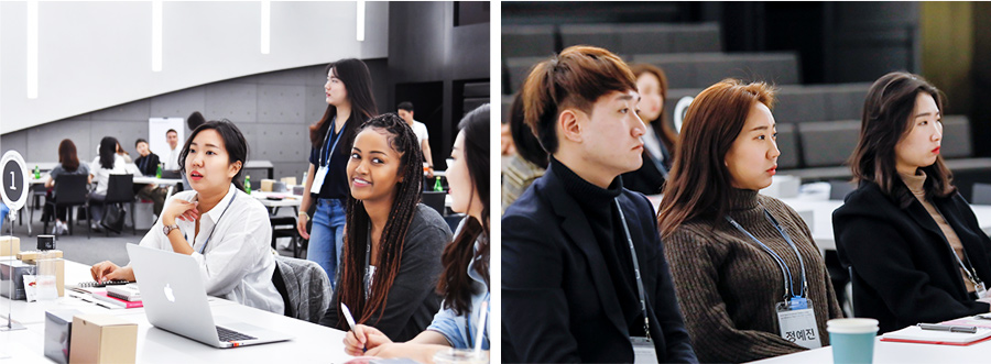 (Left) Yejin Chung (first from left) works on a team task during 2019 Summer Internship. (Right) Yejin Chung (second from left) takes an entry-level employee training session.